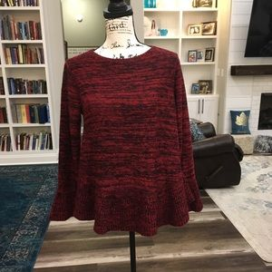 Style & Co | Red and black bell Sleeved Sweater